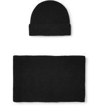 Johnstons Of Elgin Ribbed Cashmere Beanie And Scarf Set Black