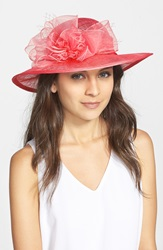 August Hat Straw Derby Hat Pink