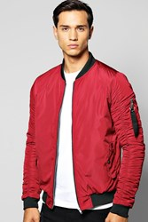 Boohoo Bomber With Rouched Sleeves Burgundy
