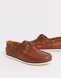 Barbour Capstan Leather Boat Shoes In Tan