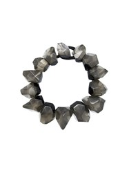 Monies Chunky Facet Bead Necklace Grey