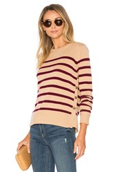 Autumn Cashmere Breton Side Button Stripe Sweater Tan