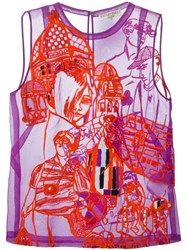 Emilio Pucci Sheer Tank Top Pink And Purple