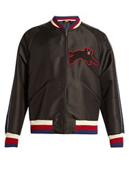 Gucci Panther Applique Silk Blend Bomber Jacket Black