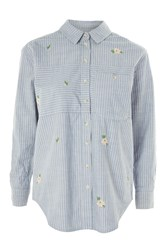Topshop Moto Embroidered Denim Shirt Mid Stone