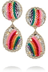 Shourouk Rainbow Gold Plated Swarovski Crystal And Sequin Clip Earrings