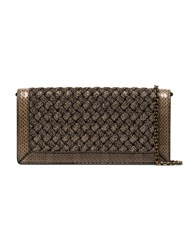 Bottega Veneta Metallic Weave Foldover Clutch Bag Gold