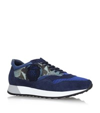 Billionaire Reptile Print Trainers Male Navy