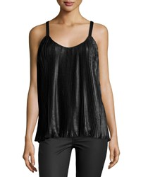 Design History Pleated Faux Leather Tank Top Onyx