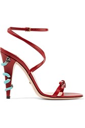Gucci Embellished Leather Sandals Claret
