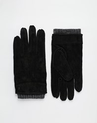 Dents Hereford Suede Gloves With Knitted Cuff Black