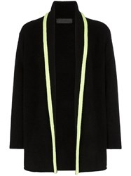 The Elder Statesman Contrasting Stripe Knitted Cashmere Cardigan Black