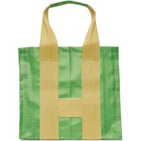Comme Des Garcons Shirt Green And Yellow Large Poly Tote