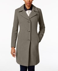 Anne Klein Petite Wool Cashmere Blend Button Front Walker Coat Only At Macy's Grey