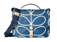 Orla Kiely Giant Linear Stem Satchel Marine Satchel Handbags Blue