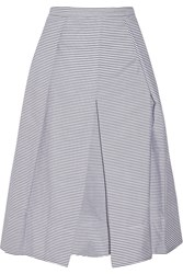 Tibi Pleated Striped Cotton Poplin Skirt Blue