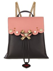Gucci Peony Leather Backpack Black Pink