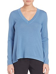 Peserico Long Sleeve V Neck Sweater Blue
