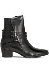 Amiri Woman Buckled Patent Leather Ankle Boots Black