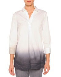 Piazza Sempione Sprayed Edge Poplin Tunic White Gray