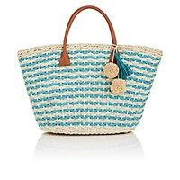 Barneys New York Provence Small Straw Tote Bag Turquoise