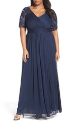 Adrianna Papell Plus Size Women's Tulle And Sequin Gown