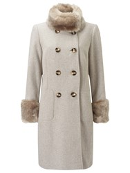 Jacques Vert Double Twill Fur Trim Coat
