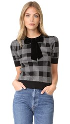 Alice Olivia Brady Plaid Short Sleeve Sweater Black White