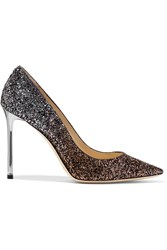 Jimmy Choo Romy Glittered Leather Pumps Gunmetal