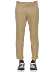 Dsquared Hockney Fit Cotton Twill Chino Pants Beige