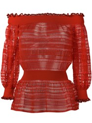 Alexander Mcqueen Lace Knit Top Red