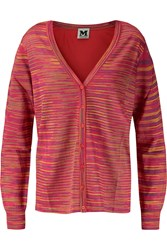 M Missoni Crochet Knit And Silk Crepe Cardigan Red