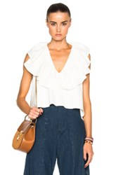 Chloe Chloe Washed Cotton Linen Blouse In White