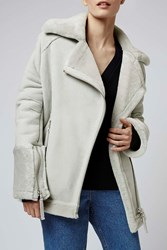 Shearling Oversized Biker By Boutique Pale Grey