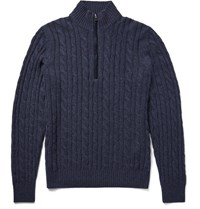 Loro Piana Cable Knit Baby Cashmere Half Zip Sweater Storm Blue