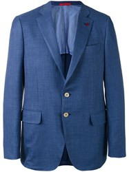 Isaia Two Button Blazer Men Silk Linen Flax Cupro Wool 54 Blue