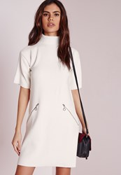 Missguided Short Sleeve High Neck Rib Shift Dress White Ivory