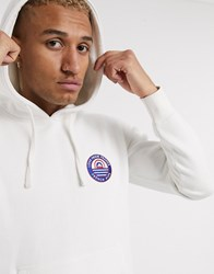 Celio Hoodie In White With Chest Embroidery