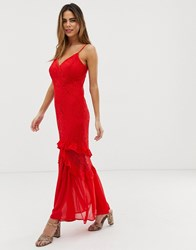 Liquorish Cami Maxi Dress With Sheer Lace Overlay And Ruffle Detail Red