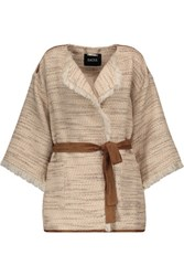 Raoul Frayed Cotton Blend Tweed And Suede Jacket Multi