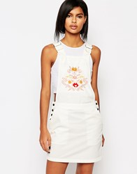Vero Moda Western Embroidered Dungaree Dress White