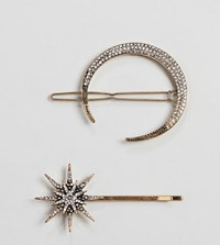 Accessorize 2 Multipack Crystal Moon And Star Hair Slides Silver