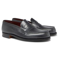 J.M. Weston Leather Penny Loafers Dark Gray