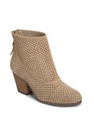 Aerosoles Vital Sign Laser Cutout Suede Ankle Boots Brown
