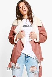 Boohoo Poppy Boutique Bonded Aviator Jacket Brown