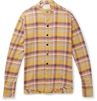 Greg Lauren Lasso Distressed Checked Cotton Flannel Shirt Yellow