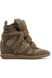 Isabel Marant Bekett Leather Paneled Suede Wedge Sneakers Taupe