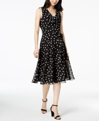 Msk Cowl Neck Polka Dot Chiffon Dress Black White