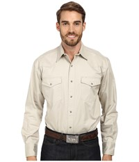 Roper L S Solid Basic Snap Front Brown Long Sleeve Button Up