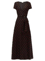 Red Valentino Redvalentino Heart Print Chiffon Dress Black Multi